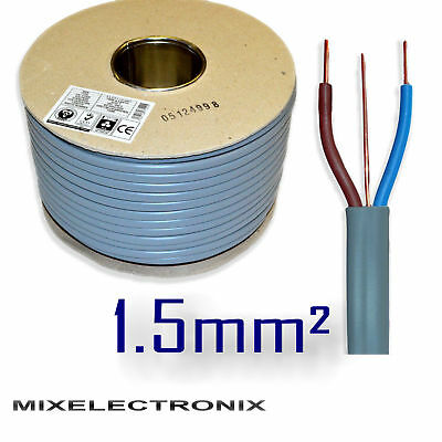 6242Y 3 Core 1.5mm sq Grey Twin and Earth Wire BASEC Certified Electric Cable