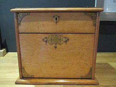 Antique Victorian Oak stationery box with brass handles