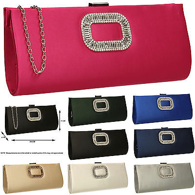 Womens Satin Diamante Silver Pink Gold Diamante Wedding Party Prom Clutch Bag