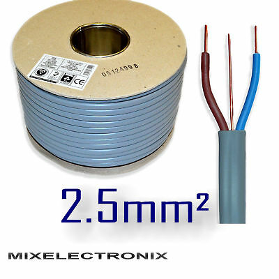 6242Y 3 Core 2.5mm sq Grey Twin and Earth Wire BASEC Certified Electric Cable