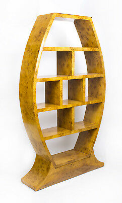 Large Art Deco Style  Birdseye Maple Room Divider Bookcase