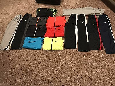 EUC LOT 14 Pc NIKE HOODIES ZIP UP ATHLETIC PANTS THERMA and DRI FIT BOYS LARGE L