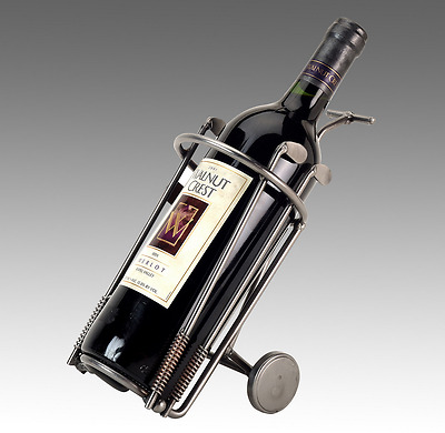 Wine Caddy, Golf Bag On Wheels, Metal Bottle Holder, Handmade Tabletop Display