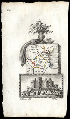 1823 French Map by Perrot of England, Kings, Kildare, Queens Hand-Colored Castle