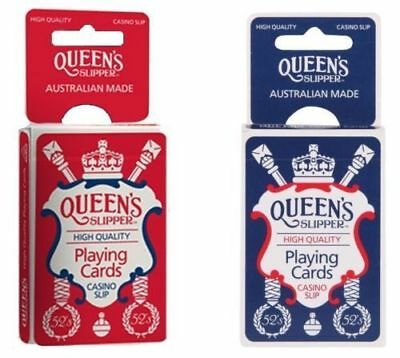 QUEEN'S Slipper 52's Playing Cards Bridge Size Blue or Red Deck Casino Slip