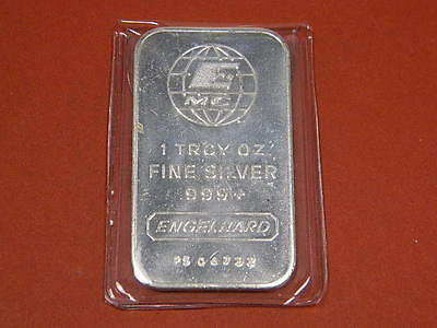 Engelhard 1 Troy Oz .999 Fine Silver Bar  With Sn