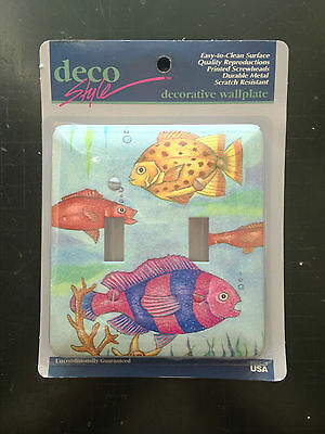 Vintage Double wall switch plates, lot of 17, Deco-Style #102TT Swimming Fish
