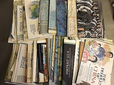 Huge LOT 57 National Geographic Maps Inserts 1956-1996 VERY GOOD
