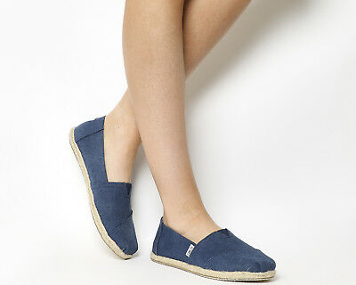 Womens Toms Seasonal Classic Slip On Washed Navy Canvas Rope Sole Flats