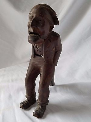 "Vintage wood carved Gnome Old Man NUTCRACKER maybe German Black Forest ?? 8""H"