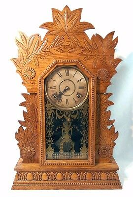 Laurel No. 3 Ornate WM Gilbert Clock Co. Mantel Shelf Clock - circa 1874 WORKS!