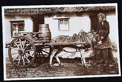 Nice Vintage Real Photo Postcard Just a Little Irish Colleen & Her Donkey & Cart