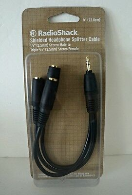 """Radio Shack 3.5mm 1/8"""" plug Male to 3 Dual Female Stereo Splitter Audio Cable"""