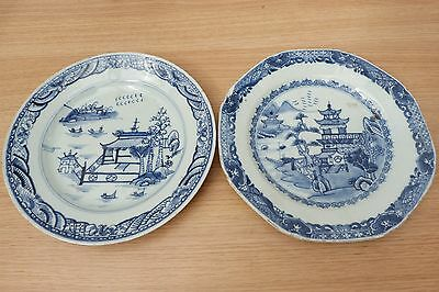 Very Nice Two 18Thc Hand Painted Blue And White Landscape Plates. C1760