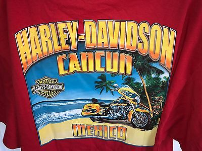 Men's Harley-Davidson Motorcycles Cancun Mexico Beach Red T Shirt Size XL