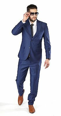 Slim Fit Men Suit 2 Button Textured Weave Deep Ink Blue Peak Lapel By Azar 1692