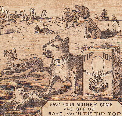 Dog Fighting Pit Bull Morgue 1800's Tip Top Baking Powder Advertising Trade Card