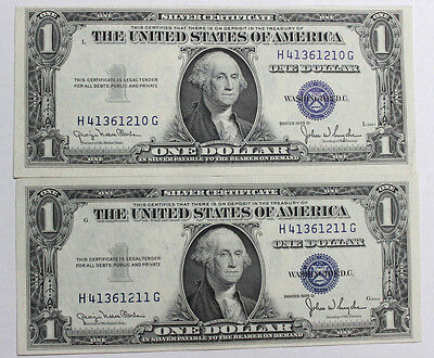 2 (TWO) $1 1935 D Silver Certificate  FRESH CRISP UNC NARROW H-G BLOCK IN SERIES