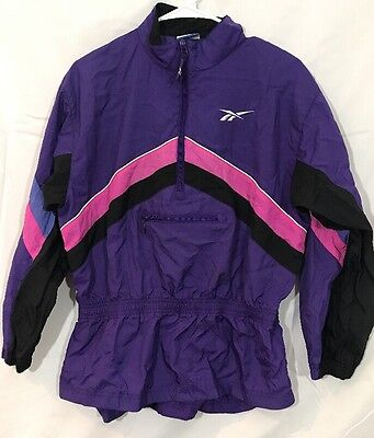 VTG 90s REEBOK JACKET Warmup Track Windbreaker Coat Geometric Black Purple XL