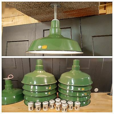 "Vintage Green Porcelain Enamel Light Shade Fixture 18"" REWIRED Industrial Barn"