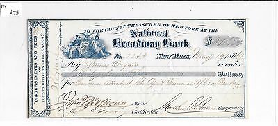 1866 New York National Broadway Bank Check