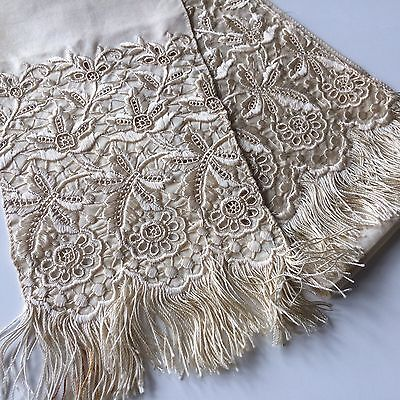Antique Ayrshire Lace Silk Tie Doll Scarf Whitework Prim Costumes Dolls