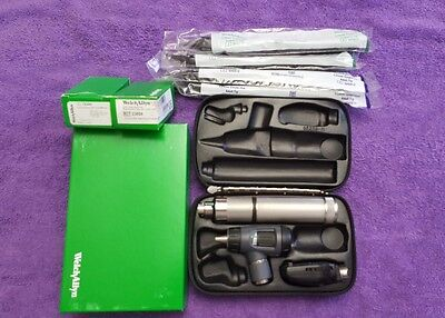 Welch Allyn Rechargeable Diagnostic Ophthalmoscope/Otoscope Set New Case/Battery