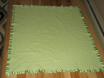 Thermal Woven Cotton Baby Blanket Lime Green Satin Trim Band