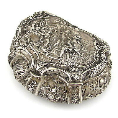 Antique Sterling Silver Repousse Trinket Jewelry Box  | G TL