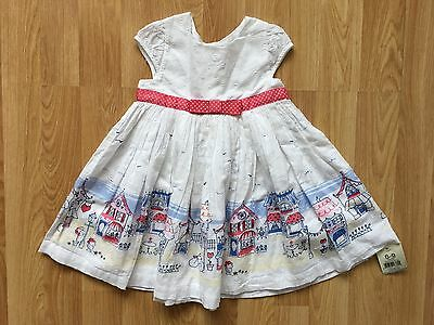 Baby Girls George White, Red & Blue City Border Dress, 6-9 Months - New With Tag