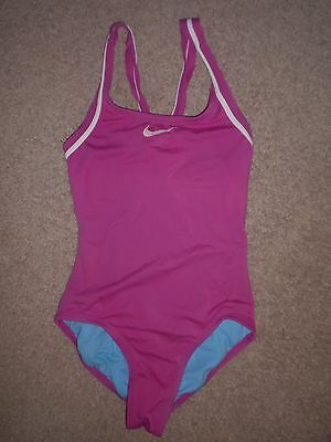 Girls 14 Nike Competition Swimsuit Swim Suit Racerback Pink White 1 One Piece