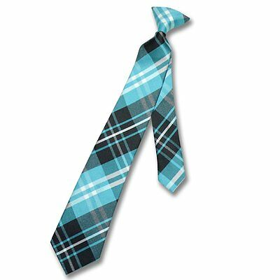 Vesuvio Napoli Boy's CLIP-ON NeckTie BLACK TURQUOISE WHITE PLAID Youth Neck Tie