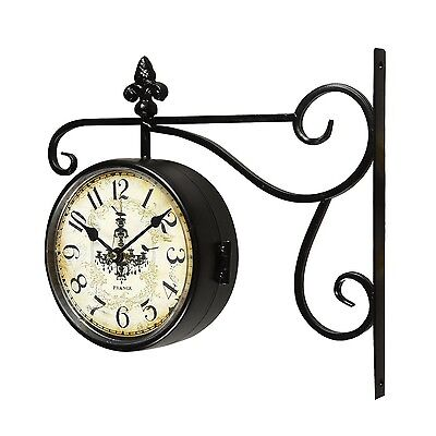 Black Iron Vintage-Inspired Round Chandelier Double-Sided Wall Hanging Clock