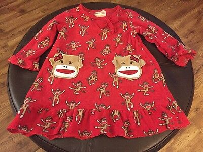 Toffee Apple Brand Sock Monkey Fleece Gown Toddler Girls Size 2T GUC