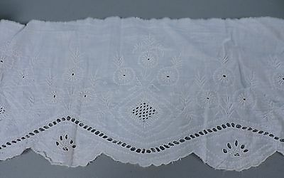 Antique Early 19Th C 1810 Hand Embroidered Cotton Dress Trim