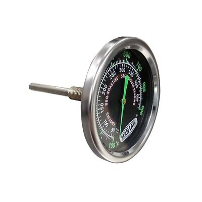 New Man Law Grill or Smoker Gauge with Glow in the Dark Dial, Stainless Steel, G