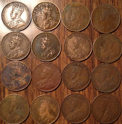 Lot Of 16 Canada Large 1 Cent Penny King George V Lot Of 16 Coins