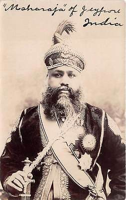 INDIA ~ MAHARAJA OF JEYPORE, POSED IMAGE, MEDALS, REAL PHOTO PC ~ dated 1907