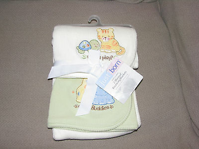 Just Born 2 Thermal Receiving Blankets Wanna Play Best Buddies Tiger Turtle New