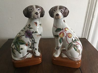Antique vintage heavy pair of decorative porcelain dogs Chinese mark on base