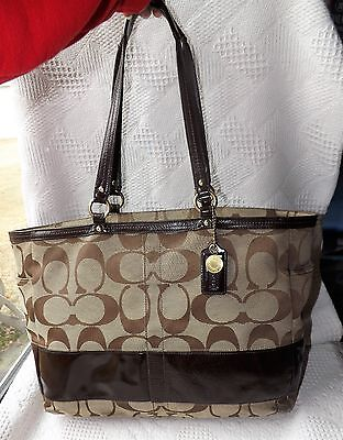 Large Coach brown signature & patent leather Diaper Bag tote 12436