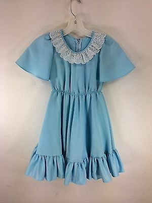 Vintage 1970s Girls Dress Blue Polyester Lace Collar Ruffled Hemline 8