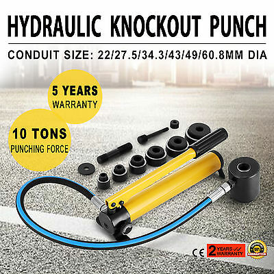 """10 Ton 6 Die Hydraulic Knockout Punch 1/2"""" to 2"""" Hand Tool Pump Driver Kit"""