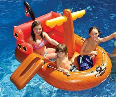 NEW Pirate Ship Ride-On Inflatable Pool Toy Swimming Kids Float Swim Fun Water
