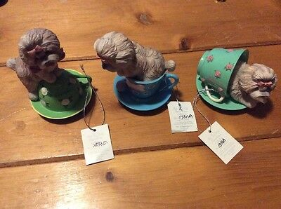 3 Shih-Tzus Personali-Tea Cheerful Playful Affection     - figurines decorations