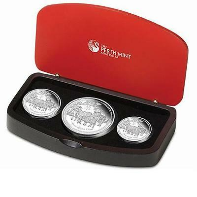 """Australian Lunar Series II 2015 """"Year of the Goat"""" Silver 3 Coin Proof Set"""
