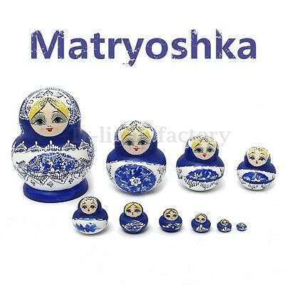 10x Wooden Russian Nesting Doll Blue Hand Painted Tiny Matryoshka Babushka Gift