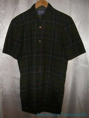 90a3292f22 Vintage 60s Pendleton Wool Short Sleeve Moss Green Plaid Flannel Shirt Sz S  USA