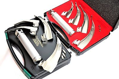 German Set Of 4 Laryngoscope  Mac Intubation Blades + Medium Handle Anesthesia