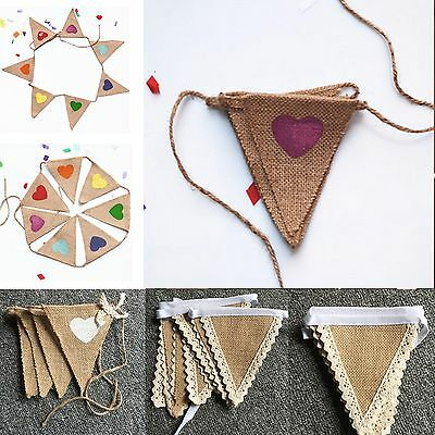 Vintage Jute Hessian Burlap Bunting Banner Wedding Party Photography Props Love